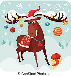 christmas deer - vector illustration of a christmas deer