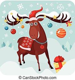 christmas deer - vector illustration of a christmas deer