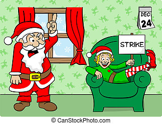 christmas elf on strike - vector illustration of a christmas...