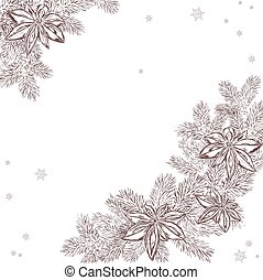 vector illustration of a christmas hand drawn pine branch with a star anise. Can be used as a backdrop for your christmas gift or greeting card.