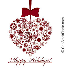 Vector illustration of a Christmas heart made with snowflakes isolated on white background.