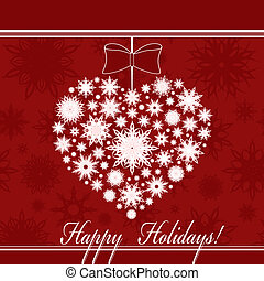 Vector illustration of a Christmas heart made with snowflakes on seamless background.