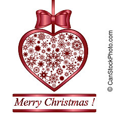 Vector illustration of a Christmas herat made with snowflakes isolated on white background.