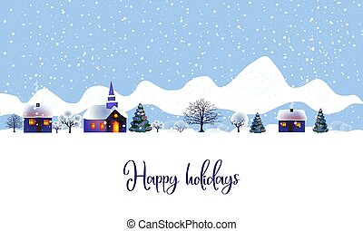 Vector illustration of a christmas landscape. Beautiful winter landscape with houses and a church, trees and bushes in the snow