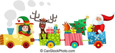christmas train - vector illustration of a christmas train