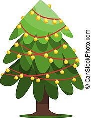 Vector illustration of a christmas tree with lamps on red string on white background
