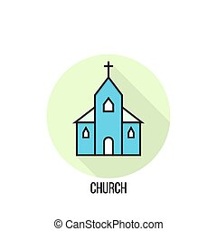 Vector illustration of a Church. - Church vector flat icon...