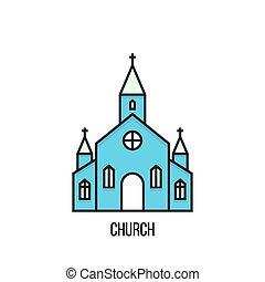 Vector illustration of a Church. - Church vector icon on...