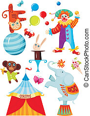 vector illustration of a circus set