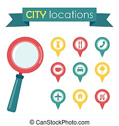 vector illustration of a city locations with magnifying glass