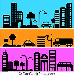 Vector illustration of a city street with icons of cars, ...