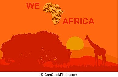 Vector illustration of a classic African landscape