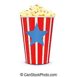 classic cinema-style popcorn - Vector illustration of a...