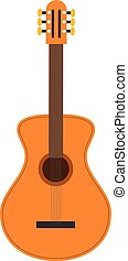 Vector illustration of a Classic guitar in cartoon style isolated on white background