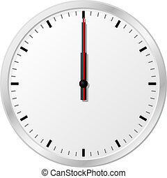 clock at noon - vector illustration of a clock at noon