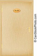 Vector illustration of a closed wooden door