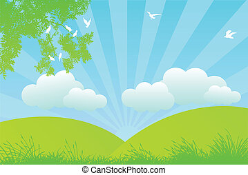 cloudy meadow - vector illustration of a cloudy meadow