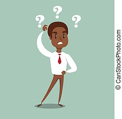 illustration of a clueless cartoon black african american ...