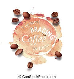 Vector illustration of a coffee stain, streaks.
