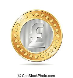 vector illustration of a coin with pound sign