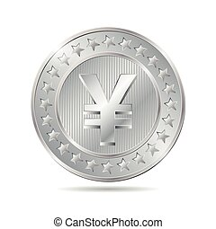 vector illustration of a coin with yen sign