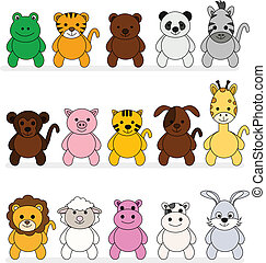 vector illustration of a collection of cartoon illustration of a cute animal