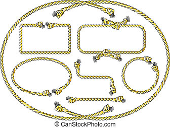 rope frames - vector illustration of a collection of several...