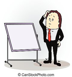 Vector illustration of a color cartoon character. Thinking businessman pointing to blank billboard