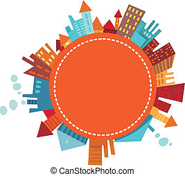 city - vector illustration of a colorful city