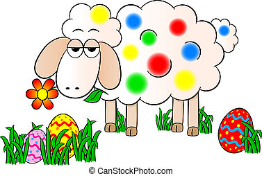 colorfully painted easter lamb - vector illustration of a ...