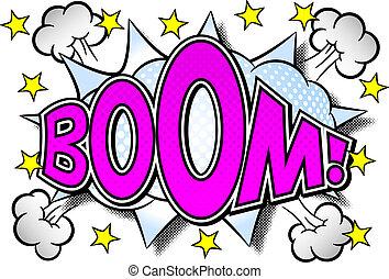 comic sound effect boom - vector illustration of a comic ...