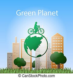 concept green planet, flat style