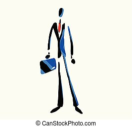 Vector illustration of a confident businessman carrying a briefcase in his hands