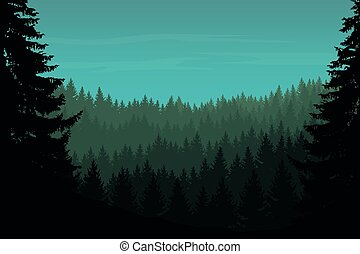 Vector illustration of a coniferous forest with trees under...