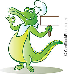 cook croc - vector illustration of a cook crocodile mascot...