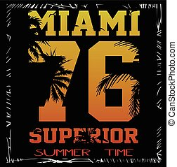 vector illustration of a cool surfing in Miami. Miami surfing design for graphics for t-shirt, vintage design summer design
