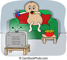 couch potato - vector illustration of a couch potato...
