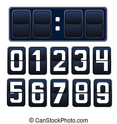 Vector illustration of a countdown timer, mechanical scoreboard