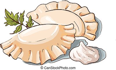illustration of a couple dumplings, sour cream and parsley -...