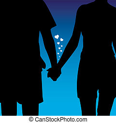 vector illustration of a couple in love