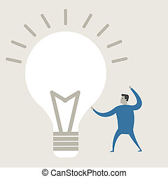 Vector illustration of a creative young cartoon businessman pointing at light bulb