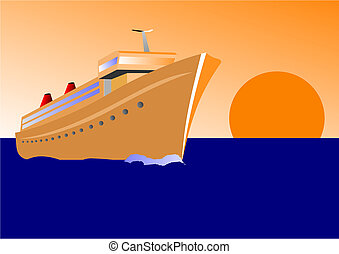 Vector illustration of a cruise ship at sunset