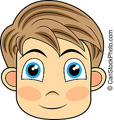 cute and happy looking face of a yo - vector illustration of...