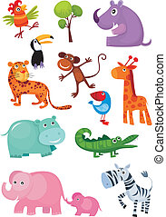 animal set - vector illustration of a cute animal set