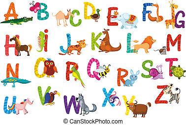 animals alphabet - vector illustration of a cute animals...