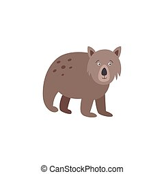 Vector illustration of a cute Australian wombat isolated on a white background.