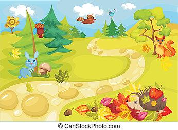 vector illustration of a cute autumn card