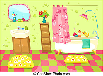 bathroom - vector illustration of a cute bathroom