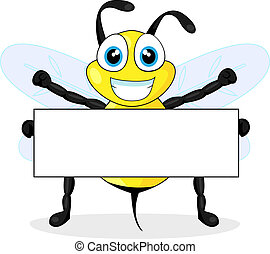 cute bee holding blank sign - vector illustration of a cute ...