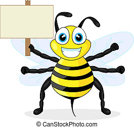 cute bee holding wood sign - vector illustration of a cute ...